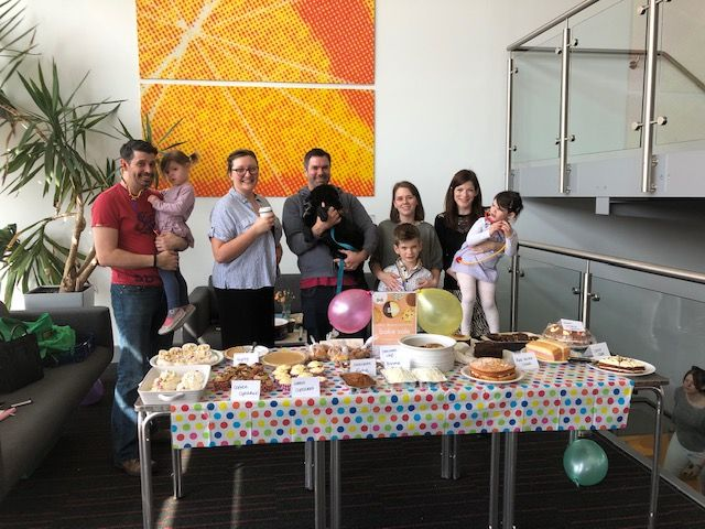 The SARD JV team run a cake sale at Canterbury Innovation Centre.